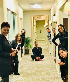 team in hallway shot